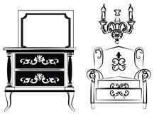 经典墙壁框架和家具 库存图片