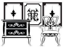 经典墙壁框架和家具 库存照片