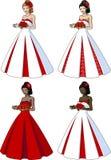 经典婚礼服的美丽的妇女 库存照片