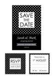 经典婚礼邀请和RSVP卡片汇集 库存图片