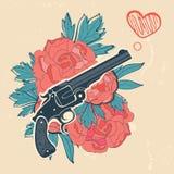 经典左轮手枪和玫瑰象征 图库摄影