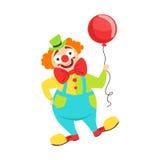 经典成套装备的马戏团小丑艺术家有红色鼻子的和做停滞在马戏展示的一个气球 库存例证