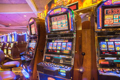 经典样式机械赌博加工拉斯维加斯内华达 免版税库存照片