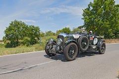 经典汽车本特利4 5公升S C 在Mille Miglia 2014年 库存照片
