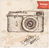 经典照相机动画片传染媒介和例证,手拉,剪影样式 库存照片