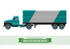 经典牵引车拖车卡车侧视图 免版税图库摄影
