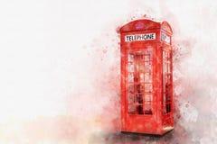 经典红色电话亭,水彩styl数字式绘画  免版税库存照片