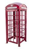 经典英国红色电话亭在伦敦英国,隔绝在白色 库存图片