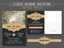 经典葡萄酒婚礼邀请卡片设计 库存照片