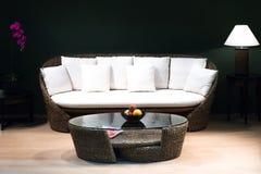 经典葡萄酒样式家具在客厅(低灯)设置了 免版税库存照片