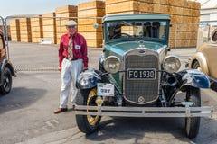 经典葡萄酒1930年福特汽车在纳皮尔,在新的Zeala的Hawkes海湾 库存图片