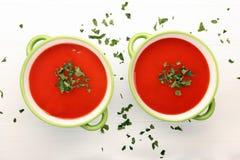 经典蕃茄汤用在白色木背景的荷兰芹 库存图片