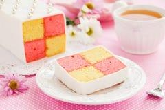 经典蛋糕饼干Battenberg 免版税图库摄影