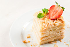 经典蛋糕-拿破仑或millefeuille 免版税库存照片