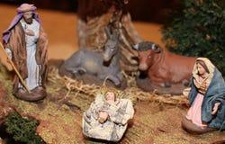 经典诞生场面在圣诞节的5一个饲槽 图库摄影