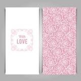 典雅与爱与玫瑰色样式的卡片模板 免版税库存图片