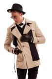 典雅侦探摆在白色背景 免版税库存图片
