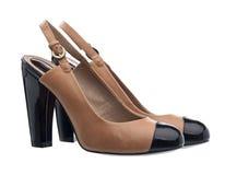 典雅在对穿上鞋子白人妇女 免版税图库摄影