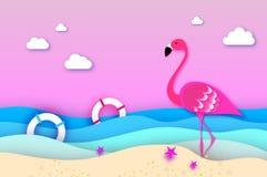 典雅桃红色鸟火鸟和lifebuoy在纸裁减样式的海 Origami分层了堆积美好的海景和天空 免版税库存图片