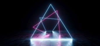 典雅的三角塑造了在地下霍尔难看的东西的霓虹萤光减速火箭的激光被带领的展示阶段充满活力的蓝色紫色发光的光 向量例证