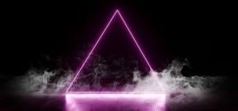 典雅的三角塑造霓虹萤光减速火箭的激光的烟带领了在地下霍尔难看的东西的展示阶段充满活力的 库存例证