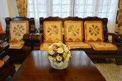 典雅的东方经典葡萄酒中国客厅,内部d 免版税图库摄影
