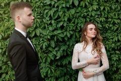 典雅的华美的摆在公园的新娘和时髦的新郎 免版税图库摄影
