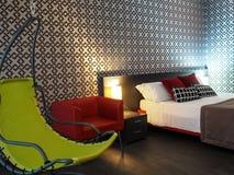 典雅的卧室在旅馆里在罗马 免版税库存图片