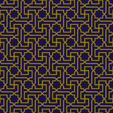 典雅的古色古香的金子棕色和蓝色背景396_star十字架螺旋几何 免版税图库摄影