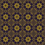 典雅的古色古香的金棕色和蓝色背景376_oriental三角geomtry花 库存图片