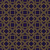 典雅的古色古香的金棕色和蓝色背景395_star正方形几何十字架线 皇族释放例证