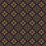 典雅的古色古香的金棕色和蓝色背景387_vintage十字架几何花 免版税库存图片