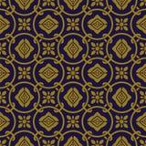 典雅的古色古香的金棕色和蓝色背景381_vintage圆的圈子十字架链子花 库存图片