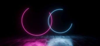 典雅的圈子塑造了在地下霍尔难看的东西的霓虹萤光减速火箭的激光被带领的展示阶段充满活力的蓝色紫色发光的光 向量例证