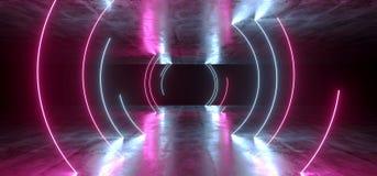 典雅的圈子道路塑造了霓虹萤光减速火箭的激光带领了在地下霍尔的展示阶段充满活力的蓝色紫色发光的光 皇族释放例证