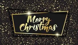 典雅的圣诞快乐贺卡,框架,闪闪发光,五彩纸屑 库存图片