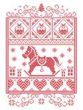 典雅的圣诞节斯堪的纳维亚人,北欧样式冬天缝,样式包括雪花,心脏,摇马,圣诞树, 免版税库存照片