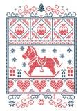 典雅的圣诞节斯堪的纳维亚人,北欧样式冬天缝,样式包括雪花,心脏,摇马,圣诞树, 皇族释放例证