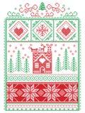 典雅的圣诞节斯堪的纳维亚人,北欧样式冬天缝,样式包括雪花,心脏,驯鹿,雪橇,姜饼h 免版税图库摄影