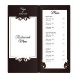 典雅的垂直的餐馆菜单 维多利亚女王时代的样式的叶茂盛元素 颜色是棕色的与白色 库存照片
