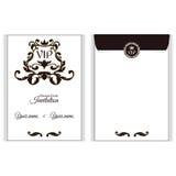 典雅的垂直VIP信封 它在与叶子装饰品的维多利亚女王时代的样式被执行 适用于邀请设计  库存图片