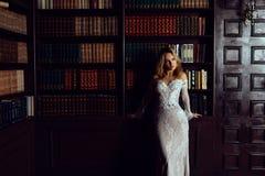 典雅的夫人佩带的晚礼服在老葡萄酒图书馆里 秀丽,方式 图库摄影