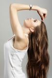 典雅的头发长的妇女年轻人 库存照片