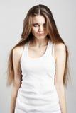 典雅的头发长的妇女年轻人 库存图片