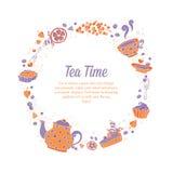 典雅的套手拉的茶和蛋糕盘旋busine的花圈 库存图片