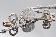 典雅的异常的银色链子和金子jewerly 免版税库存图片
