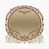 典雅的明亮的金圆的框架,与漩涡的被绘的线 库存图片
