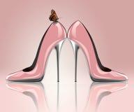 典雅的桃红色婚礼鞋子 免版税库存图片