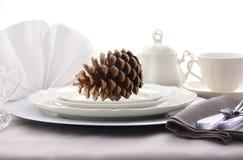 典雅的正式用餐的感恩表设置 免版税库存图片