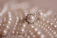 典雅的珍珠wearrings 库存图片